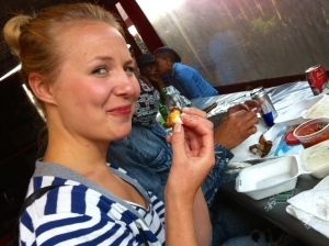 Hanne enjoys eating with her fingers