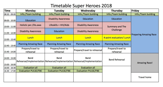 Timetable Super Heroes 2018