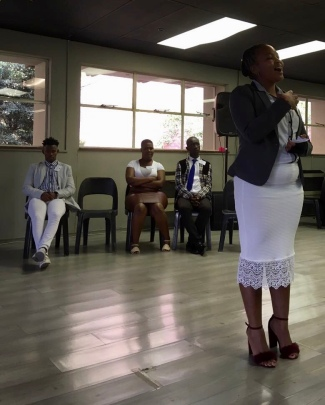 Sindisiwe Ngcobo presenting together with the rest of the Kroonstad team