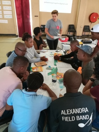 Trying out HIV and Aids activities at the Lubner Leadership Seminar