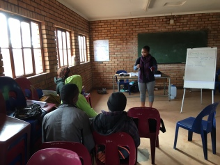 Peer Educator Sindi Ngcobo facilitating
