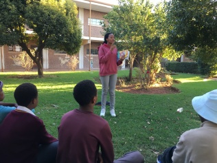 Tutor in Soweto doing an HIV and Aids activity